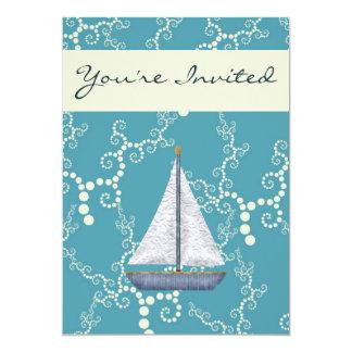 Invitación náutica personalizada del cumpleaños invitación 12,7 x 17,8 cm