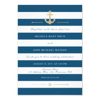 Invitación náutica rayada blanca azul del boda