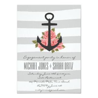 Invitación náutica romántica gris del fiesta de
