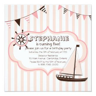 Invitación náutica rosada del cumpleaños de la invitación 13,3 cm x 13,3cm
