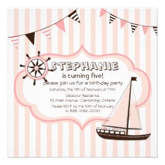 Invitación náutica rosada del cumpleaños de la ban