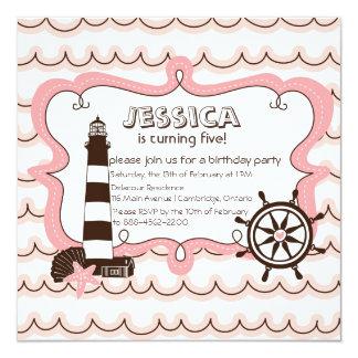 Invitación náutica rosada del cumpleaños del faro