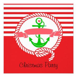 Invitación náutica Santa de la fiesta de Navidad y