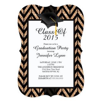 Invitación negra 2015 de la fiesta de graduación invitación 12,7 x 17,8 cm