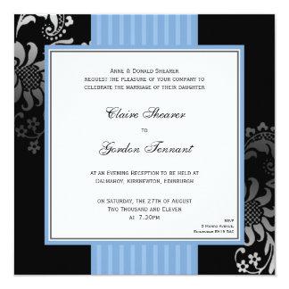 Invitación negra azul claro del boda de la banda