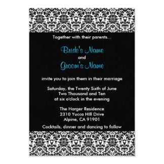 Invitación negra/blanca/azul del boda del damasco
