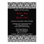 Invitación negra/blanca/roja del boda del damasco invitación 12,7 x 17,8 cm