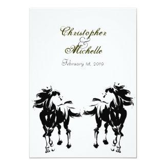 Invitación negra, blanca y verde del boda del invitación 12,7 x 17,8 cm