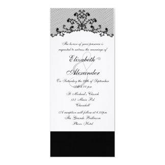 Invitación negra bordada del cordón invitación 10,1 x 23,5 cm