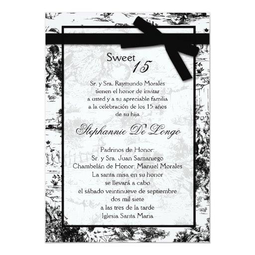 invitación negra de 5x7 ToileFabric Quinceanera