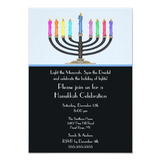 Invitación negra de la celebración de Menorah