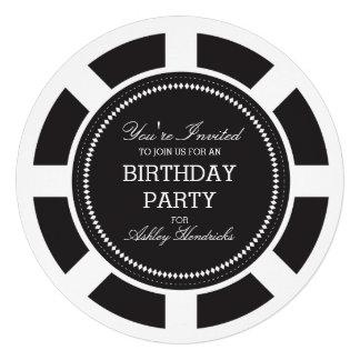 Invitación negra de la fiesta de cumpleaños de la