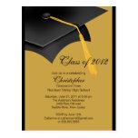 Invitación negra de la fiesta de graduación del postal
