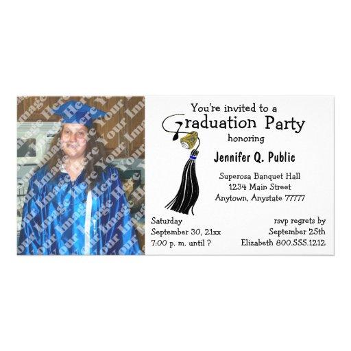 Invitación negra de la foto de la fiesta de gradua tarjetas personales