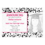 Invitación negra de la foto de la graduación de la
