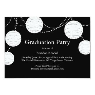 Invitación negra de la graduación de las linternas