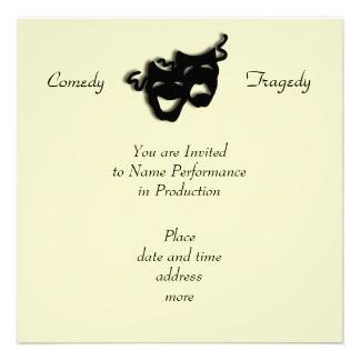 Invitación negra de las máscaras de la comedia y d