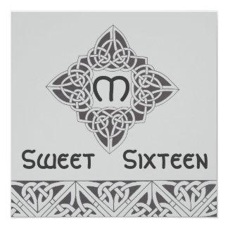 Invitación negra de plata del Celtic del dulce