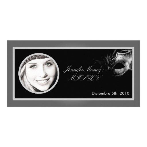 invitación negra de plata del fiesta de 4x8 Mis XV Tarjeta Con Foto Personalizada