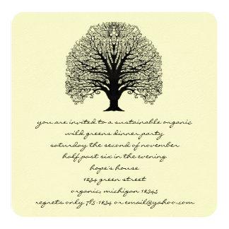 Invitación negra del árbol del remolino