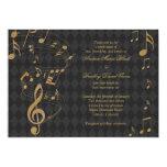 Invitación negra del boda de la música del invitación 12,7 x 17,8 cm
