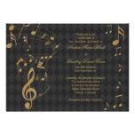 Invitación negra del boda de la música del Harlequ