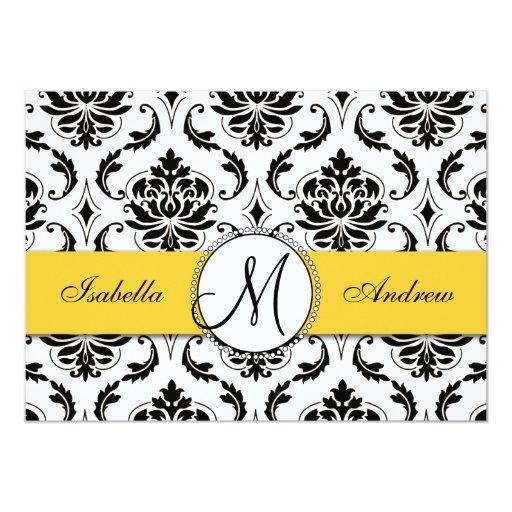 Invitación negra del boda del amarillo del damasco