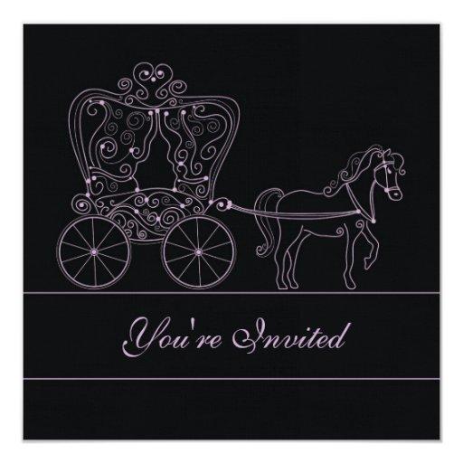 invitación negra del boda del carro 5x5