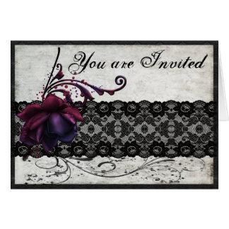 Invitación negra del boda del cordón tarjetas