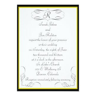 Invitación negra del boda del monograma del oro invitación 12,7 x 17,8 cm