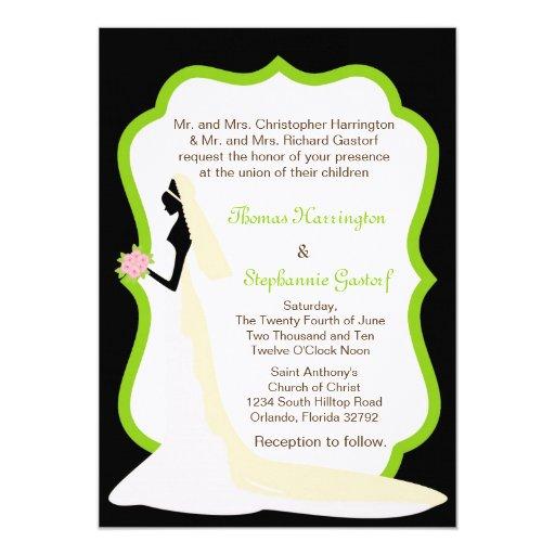 invitación negra del boda del perfil de la novia