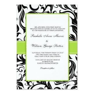 Invitación negra del boda del remolino con verde invitación 12,7 x 17,8 cm