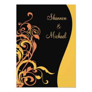 Invitación negra del boda del remolino del oro