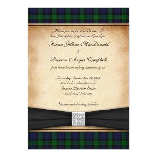 Invitación negra del boda del tartán del reloj invitación 12,7 x 17,8 cm