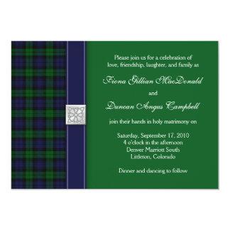 Invitación negra del boda del tartán del reloj