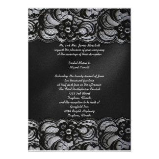 Invitación negra del cordón