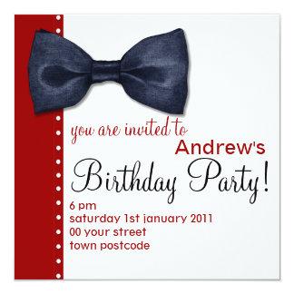Invitación negra del cumpleaños de BowTie