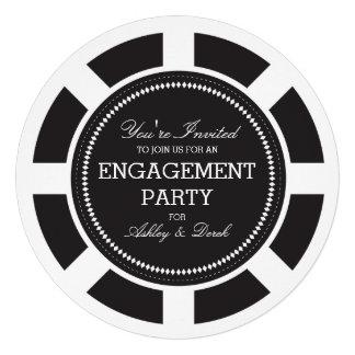 Invitación negra del fiesta de compromiso de la fi