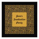 Invitación negra del fiesta del graduado del model