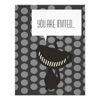 invitación negra del gato de Cheshire