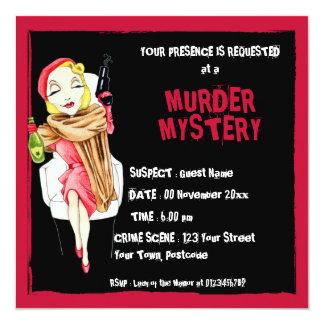 Invitación negra del misterioso asesinato de Femme Invitación 13,3 Cm X 13,3cm
