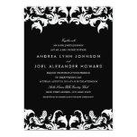 Invitación negra elegante del boda del damasco