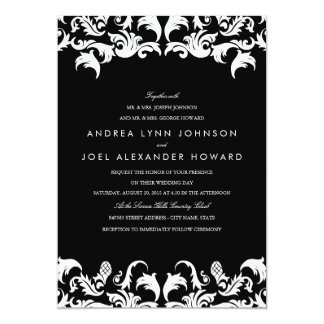 Invitación negra elegante del boda del damasco invitación 12,7 x 17,8 cm