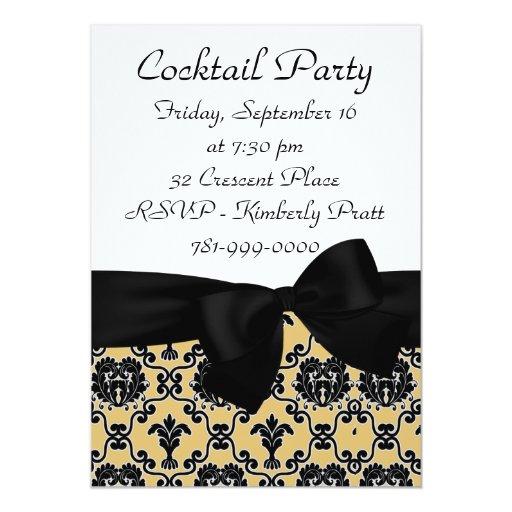 Invitación negra elegante del cóctel del damasco