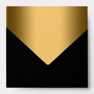Invitación negra elegante del oro sobres
