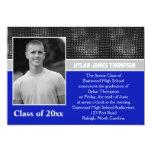 Invitación negra, gris, y azul de la graduación de invitación 12,7 x 17,8 cm