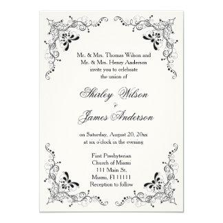Invitación negra hermosa y elegante del boda de la