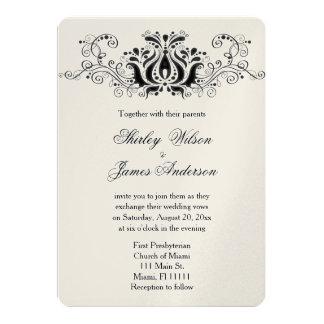 Invitación negra maravillosamente elegante del