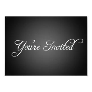 Invitación negra moderna del fiesta invitación 12,7 x 17,8 cm