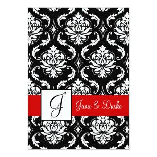 Invitación negra roja 2 del boda del monograma del